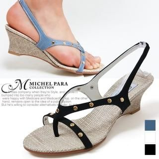 Buy MICHEL PARA COLLECTION Studded Wedge Thong Sandals 1022937540