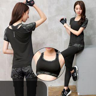 58b23f2fb9f98 Set  Camo Panel Short Sleeve Sports T-Shirt + Sports Bra + Inset Sports  Shorts Leggings
