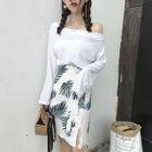 Set: Long-Sleeve Top + Printed Skirt 1596