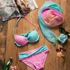 Set: Color Block Bikini + Cover 1596