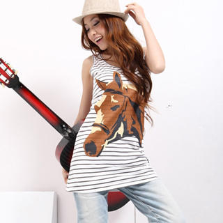 Picture of 19th Street Horse Print Striped Tank Top 1022589900 (19th Street Tees, Womens Tees, China Tees, Causal Tops, Print / Logo Shirts)
