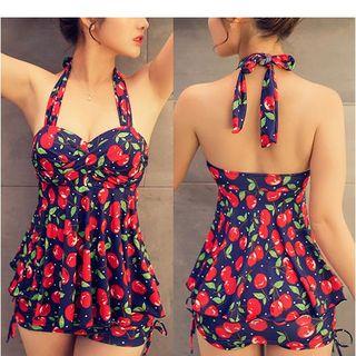 Set: Cherry Print Halter Tankini + Swimshorts 1048930530
