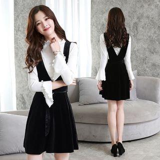 Set: Bell-Sleeve Top + A-Line Pinafore Dress 1062564764