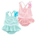 Baby Striped Bow-Accent Bodysuit 1596