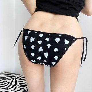 String | Bikini | Heart | Print | Black | Lace | Size | One