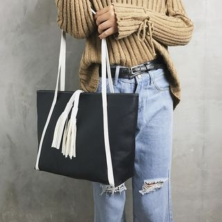 Faux-Leather Tasseled Tote 1062838234