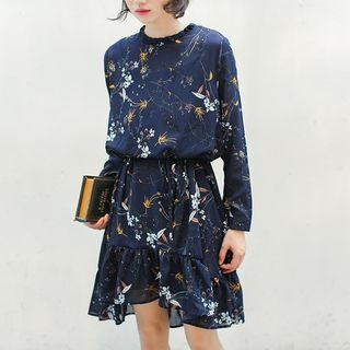 Floral Print Long-Sleeve Chiffon Dress 1062746631
