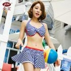 Set: Striped Bikini Top + Swimskirt 1596