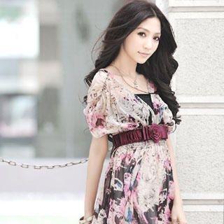 Buy Melissa Pattern Chiffon V-Neck Dress 1022793410