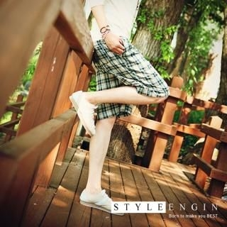 Buy Style Engine Drawstring Waist Check Shorts 1022951748