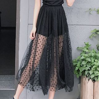 Dot Mesh Wide Leg Pants 1061071543