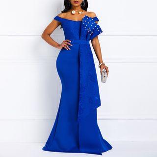 Image of Cap-Sleeve Mermaid Evening Dress