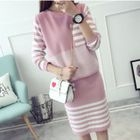 Set: Striped Sweater + Knit Skirt 1596