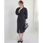 3/4-Sleeve Buttoned Midi Sheath Dress 1596