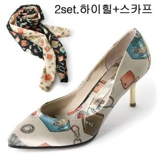 Buy Shoes by B Set: Printed Satin Pointy Pumps + Printed Scarf 1022712984