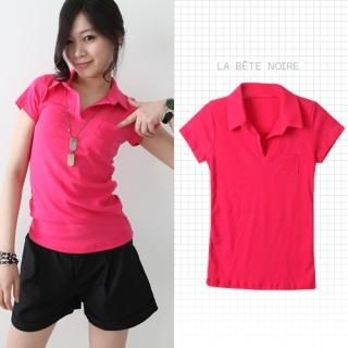 Picture of COOLHADA Pocket-Accent Polo Shirt 1022549696 (COOLHADA Tees, Womens Tees, South Korea Tees, Polo Shirts)