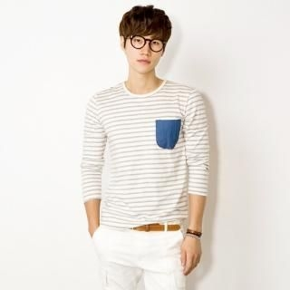 Striped Denim-Pocket T-Shirt