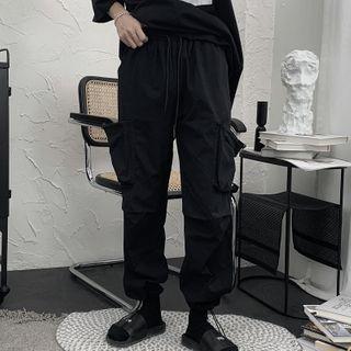 Image of Drawstring-Hem Flap-Pocket Cargo Pants