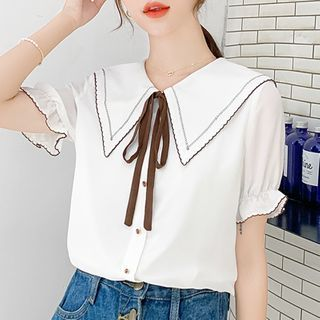 Image of Balloon-Sleeve Contrast Trim Chiffon Blouse