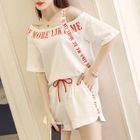 Set: Short-Sleeve Lettering T-Shirt + Shorts 1596