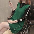 Set: Contrast Stripe Knit Top + Sleeveless Grommet Knit Dress 1596