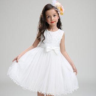 Kids Flower Applique Sleeveless Tulle Dress 1053260857
