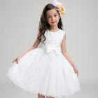 Kids Flower Applique Sleeveless Tulle Dress 1596