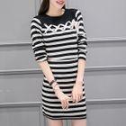 Set: Stripe Long-Sleeve Knit Top + Skirt 1596