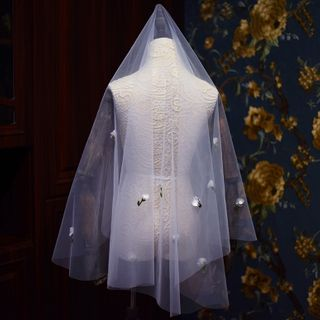 Bridal | Flower | White | Veil | Size | One