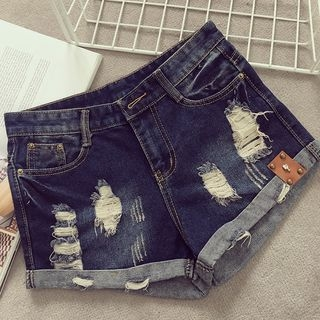 Distressed Washed Denim Shorts 1057899730
