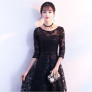 Image of Embroidered 3/4-Sleeve Midi A-Line Cocktail Dress / Evening Gown