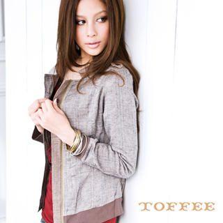 Buy TOFFEE Zip Front Contrast Trim Jacket 1022257682