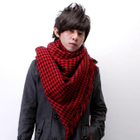 Housestooth Fringed Scarf Black  Red - One Size от YesStyle.com INT
