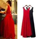 Sleeveless Open Back Maxi Chiffon Dress 1596