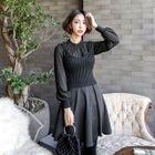Set: Mock-Neck A-Line Dress + Ribbed Knit Bustier Top 1596