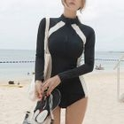 Panel Long-Sleeve Swimsuit 1596