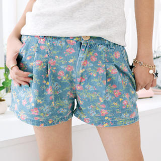 Picture of 59 Seconds Floral Denim Shorts Blue - One Size 1022881795 (Womens Shorts, 59 Seconds Pants, Hong Kong Pants)