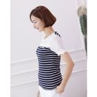 Lace-Trim Stripe-Panel Top 1596