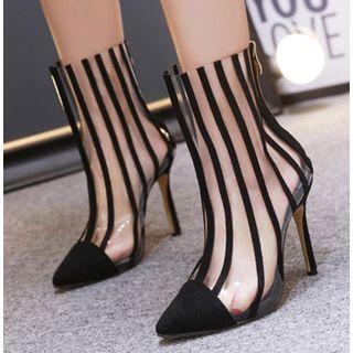 Stripe | Clear | Short | Boot | Heel | High