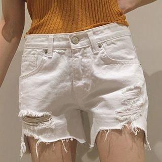 Ribbed Denim Shorts 1052737049