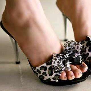 "Buy Kvoll Genuine Suede ""Bow"" Leopard Print Mules 1022654233"