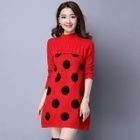 Long-Sleeve Polka-Dot Sweater Dress 1596