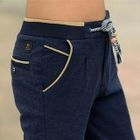 Contrast-Piping Straight-Leg Pants 1596