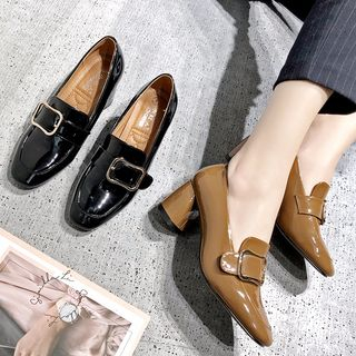 Image of Chunky-Heel Patent Loafers