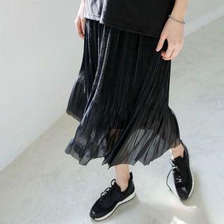 Band-Waist Pleated Long Skirt 1058098338