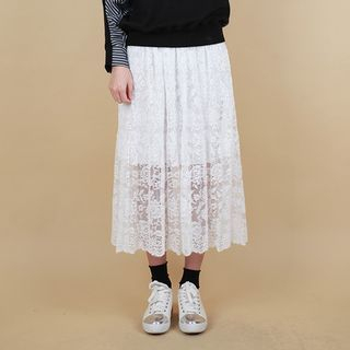 Band-Waist Lace Long Skirt 1057625103