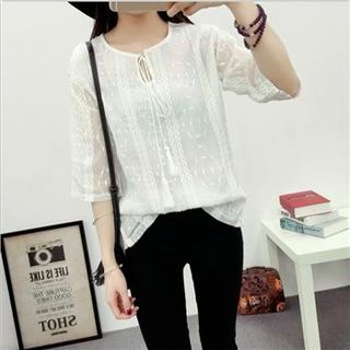 Embroidered Blouse White - One Size 1051125055