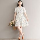 Frilled Tie-Waist Floral Chiffon Dress 1596