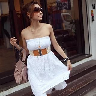 Buy PUFFY Set: Strapless Eyelet Dress + Belt 1022655938