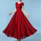 Short-Sleeve Lace Panel Chiffon Evening Dress 1596